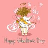 Cardi per il giorno di biglietti di S. Valentino con il cupido Fotografia Stock Libera da Diritti