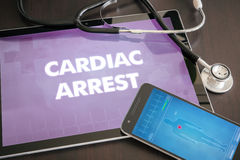 Cardiac arrest (heart disorder) diagnosis medical concept on tab. Let screen with stethoscope stock images