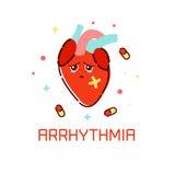 Cardiac arrhythmia poster. Royalty Free Stock Photo