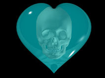 Cardiac death. Symbol of heart with skull Stock Photography