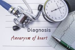 Cardiac diagnosis Aneurysm of heart. Medical form report with written diagnosis of Aneurysm of heart lying on the table in doctor. Cabinet, surrounded by stock photography