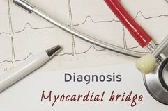 Cardiac diagnosis of Myocardial Bridge. On doctor workplace is paper medical documentation, which indicated diagnosis of Myocardia. L Bridge, surrounded by red royalty free stock images
