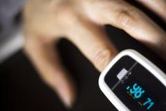 Cardiac finger pulse meter Stock Photography