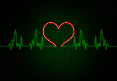 Cardiac Frequency in Green Colour with heart shape. Stock Images