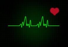 Cardiac Frequency with heart shape. Royalty Free Stock Photos