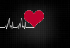Cardiac Frequency in white Colour with heart shape. Royalty Free Stock Image