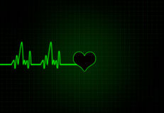Cardiac Frequency in white Colour with heart shape. Royalty Free Stock Photos