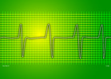 Cardiac green graph. Cardio readout on a green background stock illustration