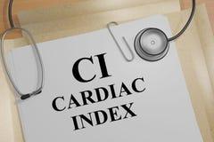 CARDIAC INDEX CI concept. 3D illustration of CARDIAC INDEX CI title on a medical document vector illustration