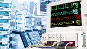 Cardiac monitor in ICU stock footage