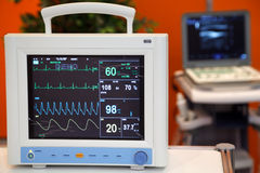 Cardiac Monitor with Vital Signs Royalty Free Stock Image