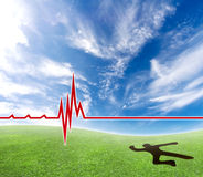 Cardiac problems. Concept of a lifeless person making a hole in the ground with a cardiograph line royalty free stock photos