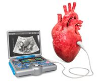 Cardiac Ultrasound concept. Human heart with medical ultrasound diagnostic machine, 3D rendering. Isolated on white background stock illustration
