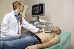 Cardiac ultrasound examination Stock Images