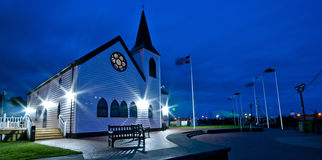 Cardif Bay Norway Church illuminated at night Royalty Free Stock Image