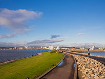 Cardiff Bay Barrage in Wales, UK. The barrage across Cardiff Bay between Queen Alexandra Dock and Penarth Head, with the skyline of Cardiff on the horizon. Wales royalty free stock photography