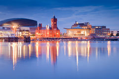 Cardiff Bay Cityscape. Pretty night time illuminations of the stunning Cardiff Bay, many sights visible including the Pierhead building (1897) and National stock photos