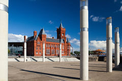 Cardiff bay development and pier head building Royalty Free Stock Images