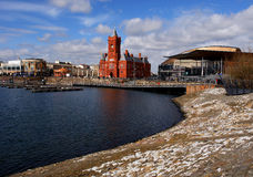 Cardiff bay overview. Railway station museum at the center Stock Photos