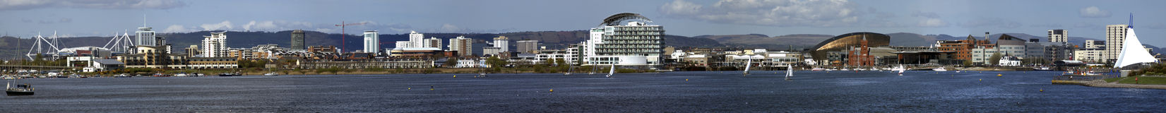 Cardiff Bay. A panoramic view of Cardiff bay, five images stitched together royalty free stock images