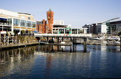 Cardiff bay scene. A view of Cardiff bay,the Cardiff docklands area once known as Tiger Bay is now known as Cardiff Bay and it has been transformed by the royalty free stock images