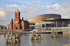 Cardiff Bay with Senedd and Millenium Centre. Cardiff Bay with Senedd, Millenium Centre and Pierhead Building, Wales. Capitol city with Welsh parliament building stock photo