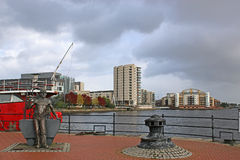 Cardiff Bay. Statue and lightship in Cardiff Bay Stock Image
