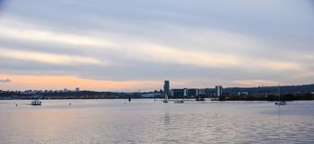 Cardiff Bay. A view of the sunset over Cardiff Bay Stock Photography