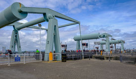 Cardiff Bay, Wales - May 21, 2017: Barrage, people,crossing over Stock Image