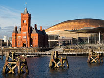 Cardiff Bay in Wales. Waterfront view of the Pier Head building, the Millennium Centre and the Senedd, the Welsh National Assembly. Cardiff, Wales, UK royalty free stock photos