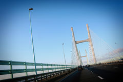 Cardiff bridge. Driving on Cardiff bridge, Wales royalty free stock photos