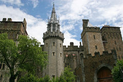 Cardiff castle. Clock tower and external walls of Cardiff castle Stock Photos