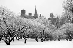 Cardiff castle. Cardiff's Bute park covered under snow with castle stock photo