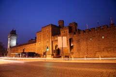 Cardiff Castle. Outside view of Cardiff Castle in Cardiff, Wales royalty free stock photo
