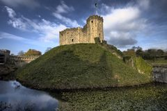 Cardiff Castle. And the Norman Keep in the centre of the city Royalty Free Stock Photo