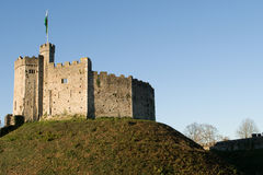 Cardiff castle. Wales, view showing castle on hill Stock Image