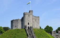 Cardiff castle. And blue sky royalty free stock image