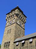 Cardiff Castle Clock Tower Stock Photo