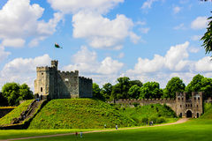 Cardiff castle. Medievall Cardiff castle and wall Royalty Free Stock Photography