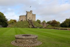 Cardiff Castle - The Norman shell keep, Cardiff, Wales, UK Royalty Free Stock Images