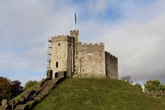 Cardiff Castle - The Norman shell keep, Cardiff, Wales, UK Royalty Free Stock Photo