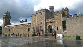 Cardiff Castle. Outside view of Cardiff Castle in Cardiff, Wales royalty free stock photography