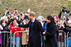 Prince Harry and Meghan Markle visit Cardiff, South Wales, UK. royalty free stock photo
