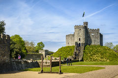 Cardiff Castle. Surrounding walls - Wales stock photo