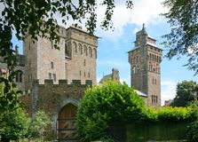Cardiff castle. View of Cardiff castle from showing clock tower portcullis and gate royalty free stock photos