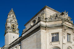 Cardiff City Hall. The clock tower of Cardiff City Hall stock images