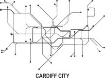 Cardiff City map. Cardiff subway map available in vector file format Stock Photo