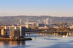 Cardiff e baia di Cardiff fotografia stock