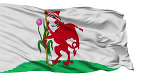 Isolated Cardiff city flag, UK. Cardiff flag, city of UK, realistic animation isolated on white seamless loop - 10 seconds long alpha channel is included stock video footage