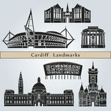 Cardiff landmarks and monuments. On blue background in editable vector file Royalty Free Stock Images
